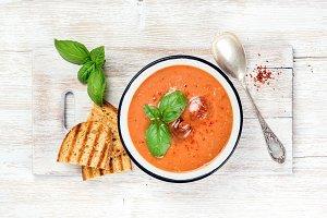 Cold gazpacho tomato soup
