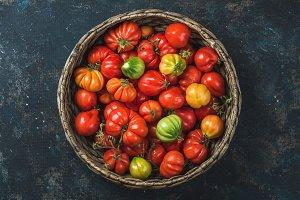 Fresh ripe Fall heirloom tomatoes