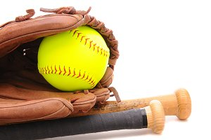 Softball Glove ball and two bats