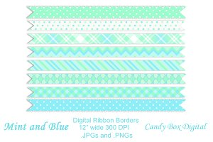 Mint and Blue Ribbon Borders