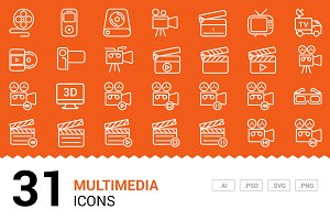 Multimedia - Vector Line Icons