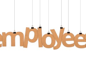 employees word hanging with strings