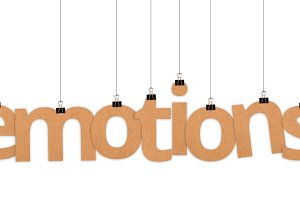 emotions word hanging with strings