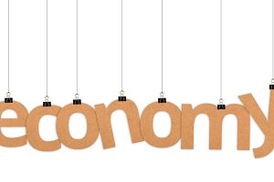 Economy word hanging with strings