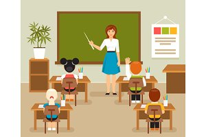Classroom with teacher and students