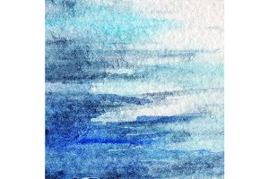 Watercolor blue water background