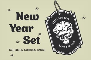 New Year set of design elements