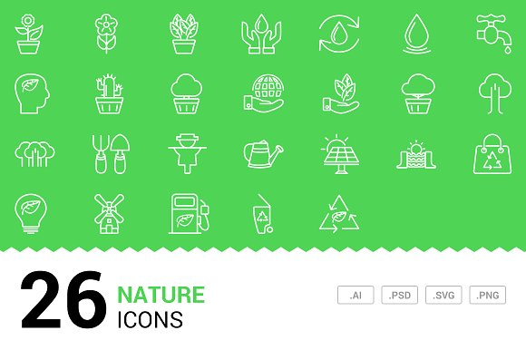 Nature - Vector Line Icons
