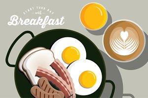 breakfast flat lay vector