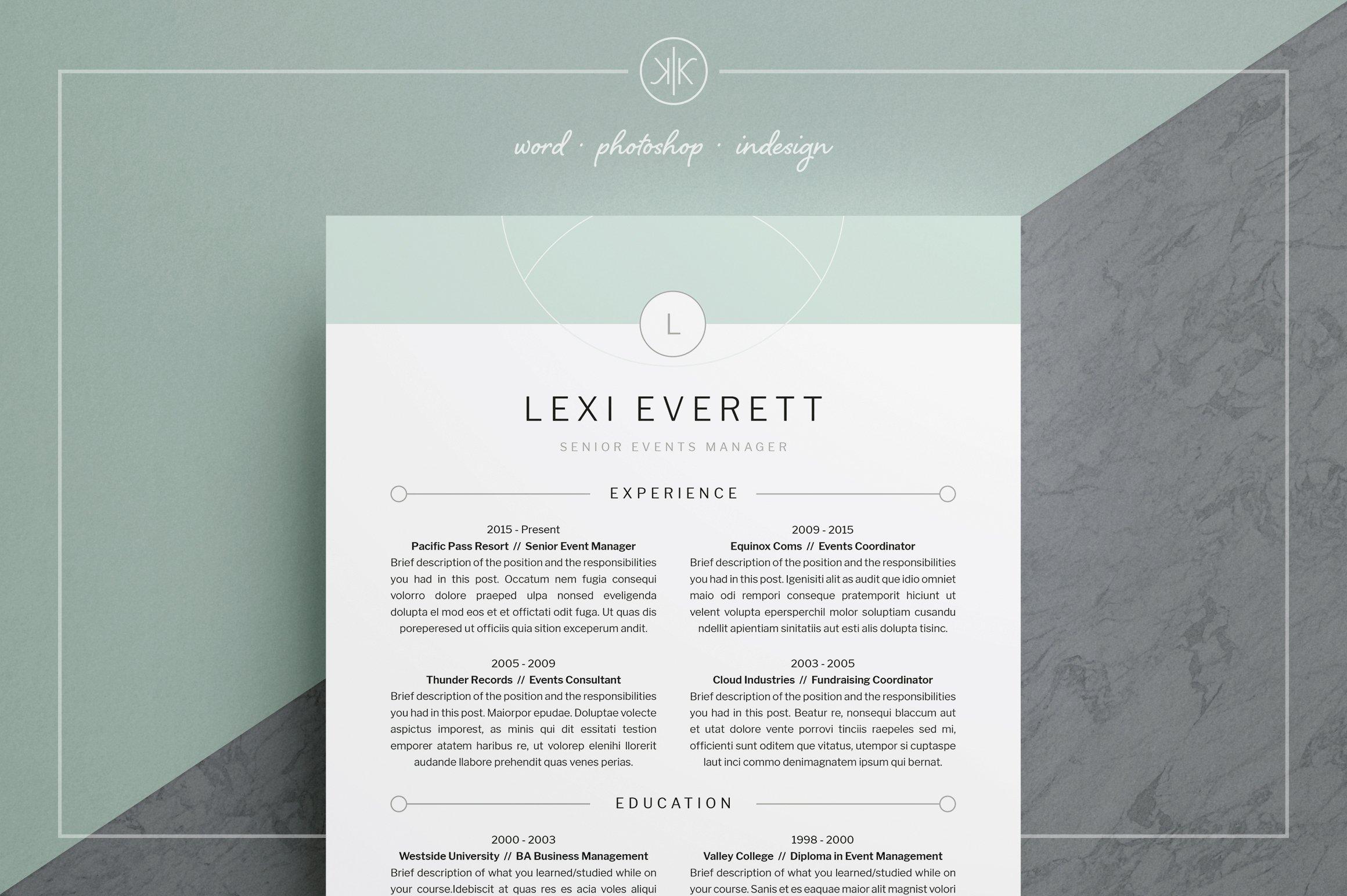 Resume/CV | Lexi ~ Resume Templates ~ Creative Market