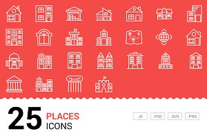 Places - Vector Line Icons