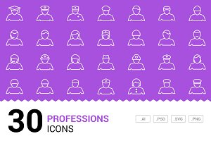 Professions - Vector Line Icons