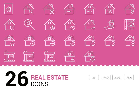 Real Estate - Vector Line Icons
