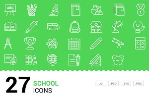 School - Vector Line Icons