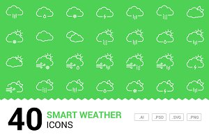 Smart Weather Vector Line Icons
