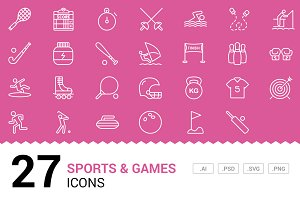 Sports / Games - Vector Line Icons