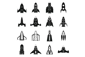 Rocket icons set, simple style