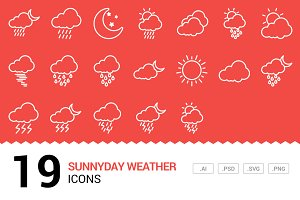 Sunnyday Weather - Vector Line Icons