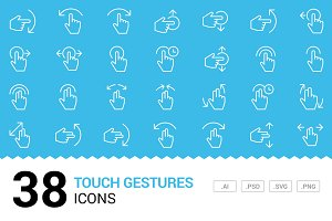 Touch Gestures - Vector Line Icons
