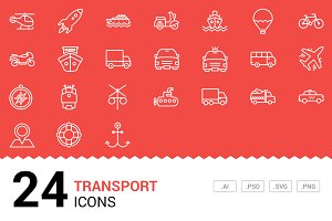 Transport - Vector Line Icons