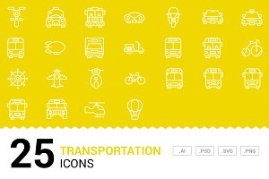 Transportation - Vector Line Icons