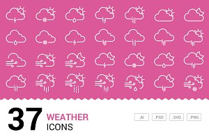 Weather - Vector Line Icons