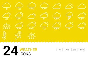 Cloudy Weather - Vector Line Icons
