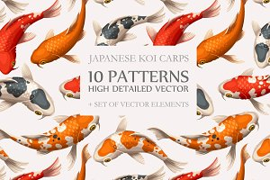 Koi Carps Seamless Patterns