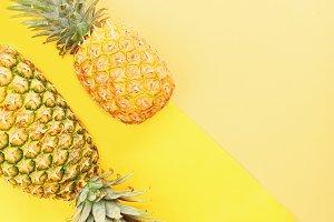 Two Fresh pineapple