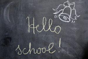 Hello school, Back to school, Bye Bye Summer.  lettering. Hand drawn lettering by chalk on green blackboard. Green chalkboard. Hand drawn design elements.