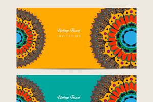 Mandala decorated banners
