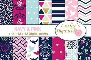 Navy Pink & Gold Digital Paper