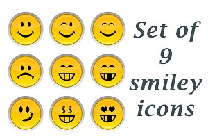 Set of yellow smiley icons.