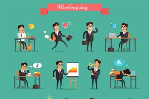 Working Day in Office Characters