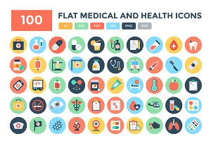 100 Flat Medical and Health Icons