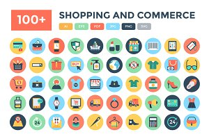 100+ Flat Shopping and Commerce Icon