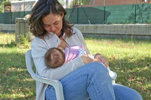 Young mum breastfeeding