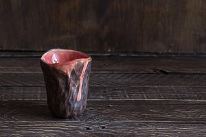 brown-pink clay cup