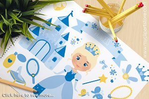 Blue Princess - Vector Clipart