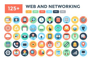 125+ Flat Web and Networking Icons