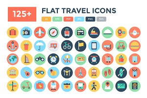 125+ Flat Travel Icons