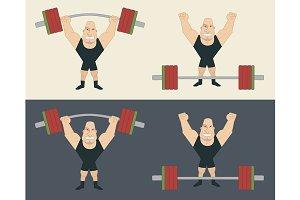 Strongman with barbell. Vector