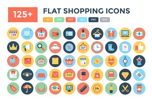 125+ Flat Shopping Icons