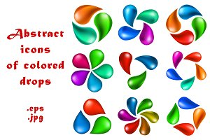 Abstract icons of colored drops.