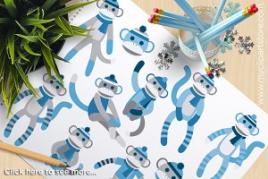 Sock Monkey (Blue) - Vector Clipart