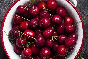 Juicy fresh red cherry