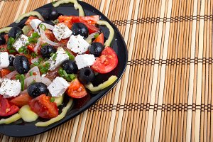 Fresh vegetable salad closeup
