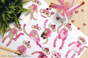 Sock Monkey (Pink) - Vector Clipart