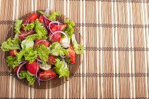 Top view of vegetarian salad