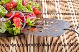 Closeup view on fresh salad